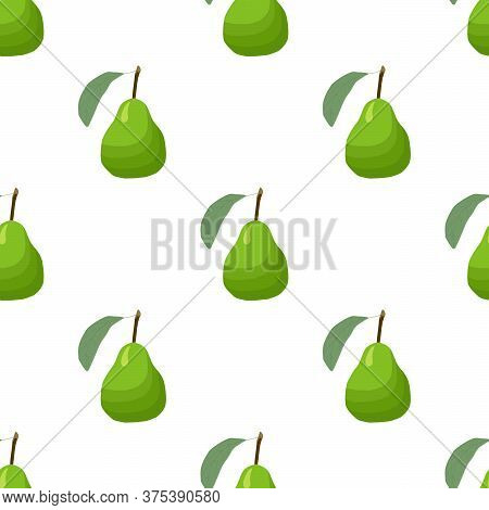 Illustration On Theme Big Colored Seamless Pear, Bright Fruit Pattern For Seal. Fruit Pattern Consis