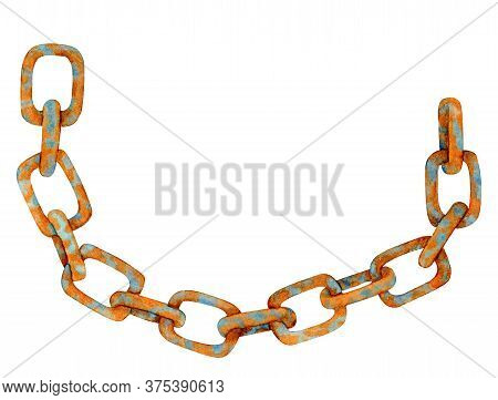 Watercolor Rusty Chain. Hand Drawn Old Chain Links With Rust Texture Illustration. Heavy Abandoned S