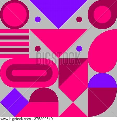 Bauhaus Print, Geometric Seamless Retro Pattern With Shapes, Geometric Composition, Hipster Modern A