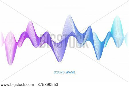 Vector Sound Wave Flow. Voice Control And Sound Recognition Concept. White Background. Stock Vector