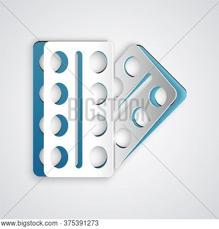 Paper Cut Pills In Blister Pack Icon Isolated On Grey Background. Medical Drug Package For Tablet, V