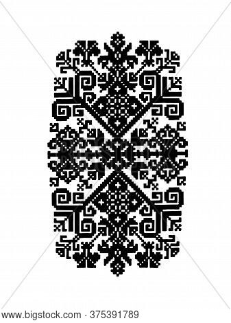 Traditional Latvian Sign Ornament. Black On White Vector Design. Baltic Countries Tradition