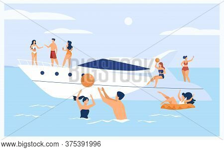 Vacation On Yacht Concept. Happy Tourist Characters Sailing, Drinking Cocktails On Luxury Boat, Swim