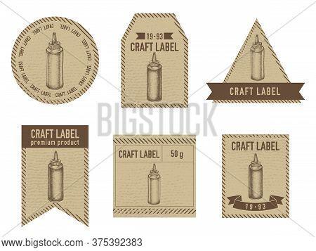 Craft Labels Vintage Design With Illustration Of Sauce Bottles Stock Illustration