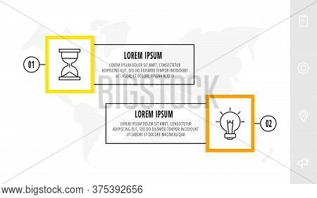 Vector Infographics Design Template With Label. Two Steps. Modern Line Concept Can Be Used For Diagr
