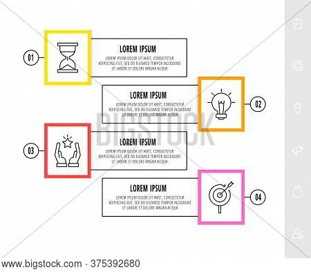 Vector Infographics Design Template With Icons. Four Steps. Modern Line Concept Can Be Used For Diag