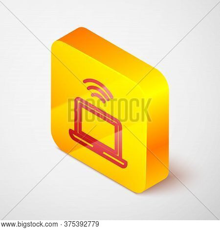 Isometric Line Wireless Laptop Icon Isolated On Grey Background. Internet Of Things Concept With Wir