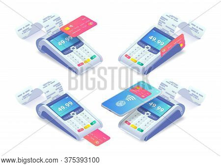 Cashless Payment Via Credit Card And Smartphone Isometric Concept Set. 3d Payment Machine Printing C