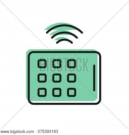 Black Line Wireless Tablet Icon Isolated On White Background. Internet Of Things Concept With Wirele