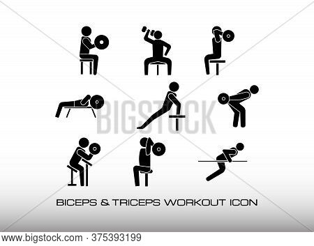 Set Of Triceps And Biceps Icon Workout In Gym Center. Consist Nine Black Illustration About Arms Tra