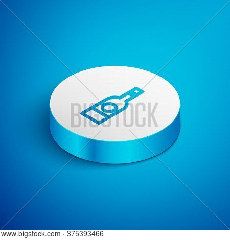 Isometric Line Glass Bottle Of Vodka Icon Isolated On Blue Background. White Circle Button. Vector