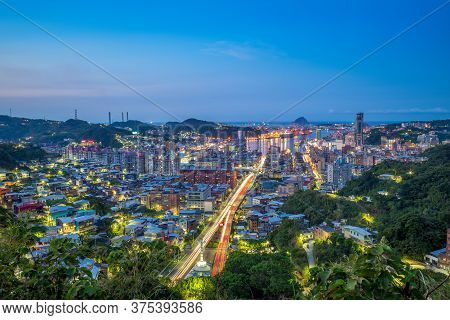 Cityscape Of Keelung City In Taiwan At Night