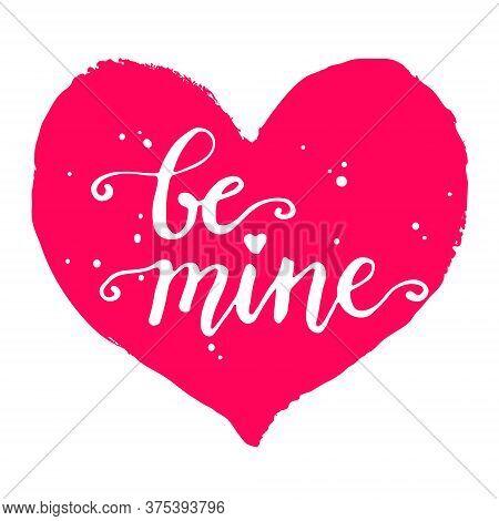 Silhouette Of Heart In Grunge Style, Hand Written Phrase