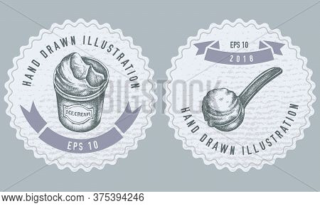 Monochrome Labels Design With Illustration Of Ice Cream Bucket, Ice Cream Scoop, Ice Cream Balls Sto