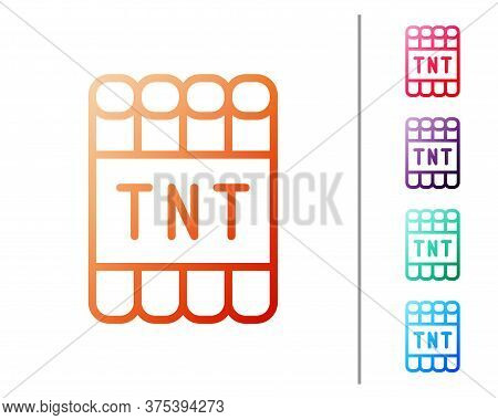 Red Line Detonate Dynamite Bomb Stick And Timer Clock Icon Isolated On White Background. Time Bomb -