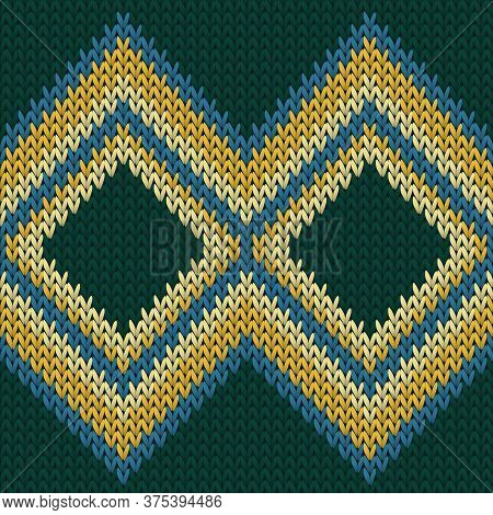 Woven Rhombus Argyle Knitting Texture Geometric Seamless Pattern. Jumper Knitwear Fabric Print. Clas