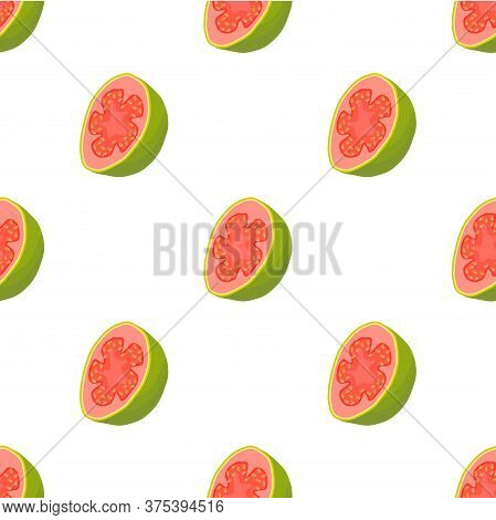 Illustration On Theme Big Colored Seamless Guava, Bright Fruit Pattern For Seal. Fruit Pattern Consi