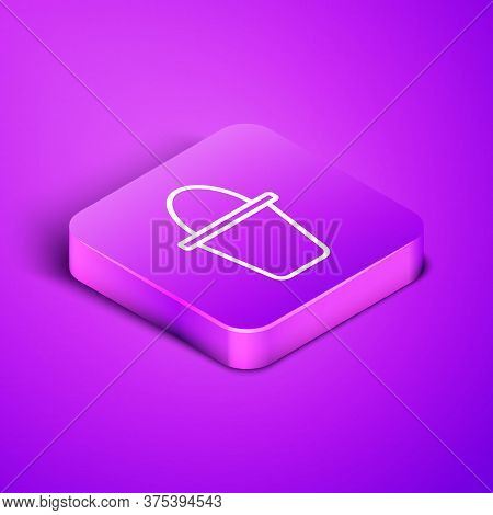 Isometric Line Fishing Bucket Icon Isolated On Purple Background. Fish In A Bucket. Purple Square Bu