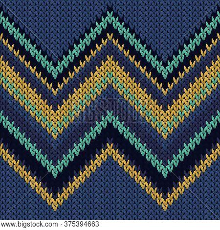 Yarn Zig Zal Lines Knitting Texture Geometric Seamless Pattern. Pullover Knitwear Fabric Print. Trad