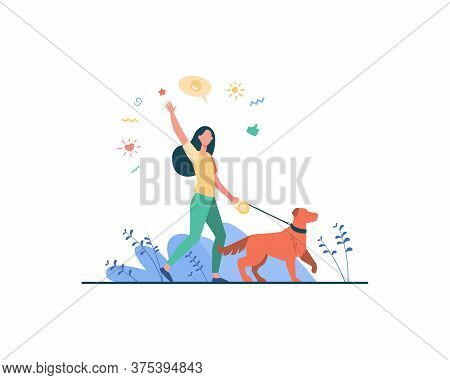 Faceless Happy Woman Walking With Dog In Park Isolated Flat Vector Illustration. Girl With Pet On Le
