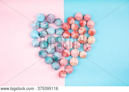 Soft Pink And Blue Color Of Mini Marshmallows Heart Shaped Dessert Top View, Flat Lay Style. Concept
