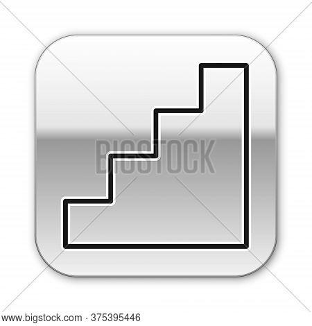 Black Line Staircase Icon Isolated On White Background. Silver Square Button. Vector