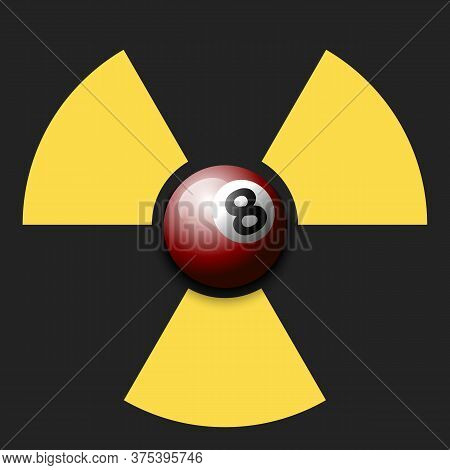 Radiaction Symbol With Billiard Ball. Caution Radioactive Danger Sign. Billiard Quarantined. Cancell