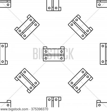 Grey Line Wooden Box Icon Isolated Seamless Pattern On White Background. Grocery Basket, Storehouse