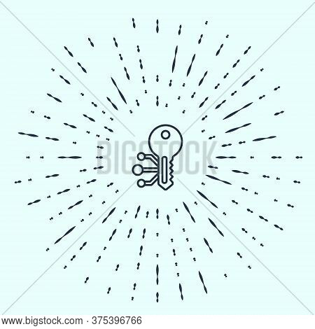 Black Line Cryptocurrency Key Icon Isolated On Grey Background. Concept Of Cyber Security Or Private