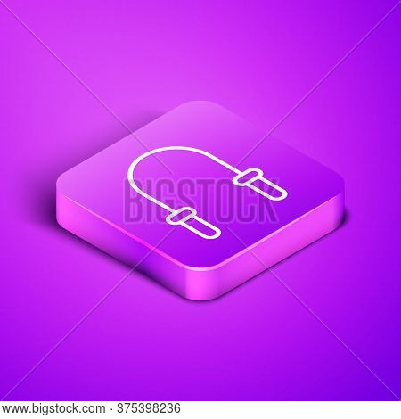 Isometric Line Jump Rope Icon Isolated On Purple Background. Skipping Rope. Sport Equipment. Purple