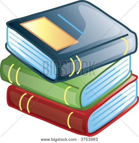 Icon or symbol of three stacked books poster