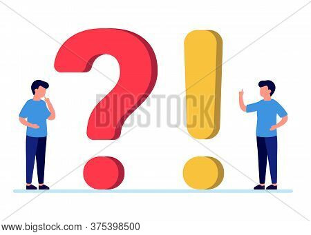 Frequently Asked Questions, Man People With Question And Exclamation Marks. Abstract Man Ask, Need H