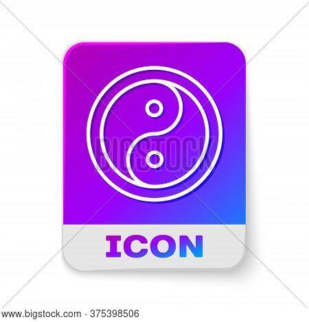 White Line Yin Yang Symbol Of Harmony And Balance Icon Isolated On White Background. Rectangle Color