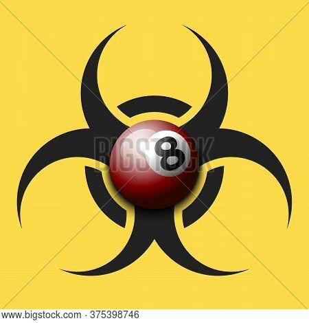 Biohazard Symbol With Billiard Ball. Caution Biological Danger Toxic Sign. Billiard Quarantined. Can