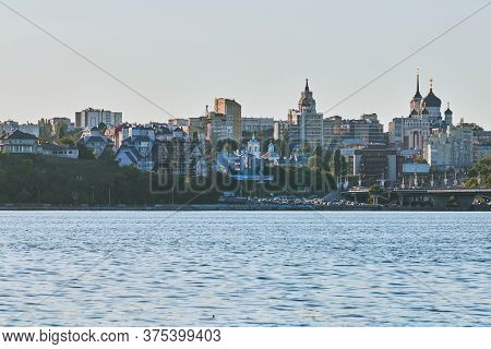 Voronezh, Russia - 22.08.2019 - Voronezh City Downtown Cityscape. View From River. Business Centers,