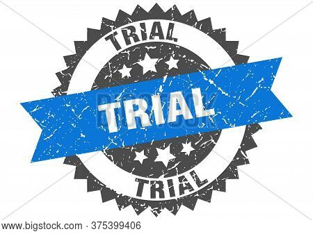 Trial Grunge Stamp With Blue Band. Trial