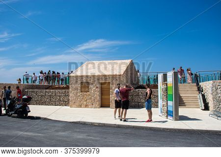 Biokovo Croatia July 2020 Small Old Looking House At The Entrance Of Newly Built Skywalk At The Peak