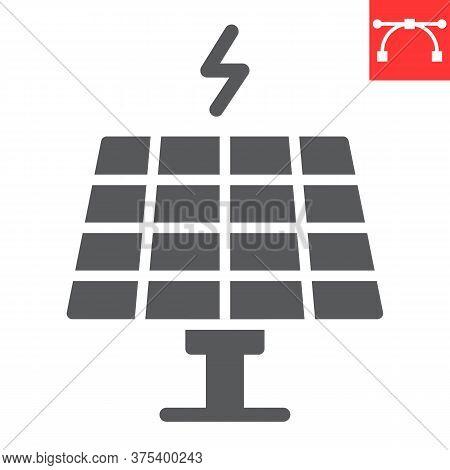 Solar Panel Glyph Icon, Energy And Ecology, Sun Solar Panel Sign Vector Graphics, Editable Stroke So
