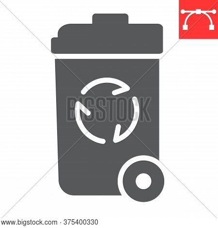 Recycle Bin Glyph Icon, Garbage And Ecology, Trash Bin Sign Vector Graphics, Editable Stroke Solid I