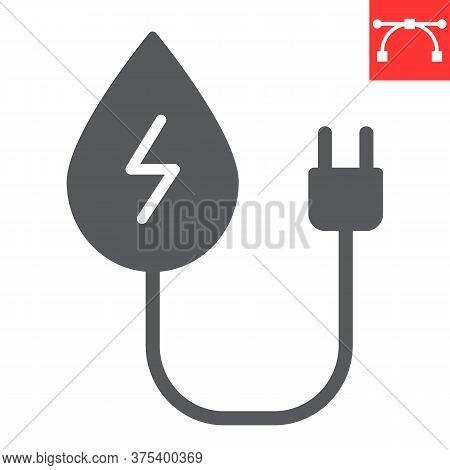 Hydropower Glyph Icon, Energy And Ecology, Water Energy Sign Vector Graphics, Editable Stroke Solid