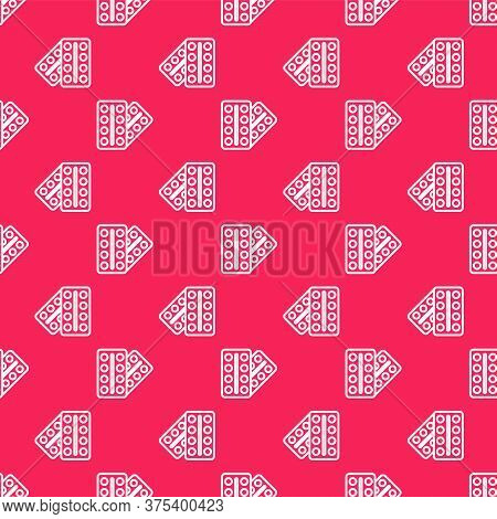 White Line Pills In Blister Pack Icon Isolated Seamless Pattern On Red Background. Medical Drug Pack