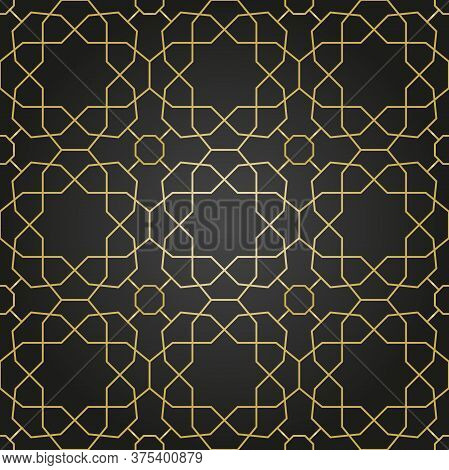 Seamless Vector Ornament In Arabian Style. Geometric Abstract Black And Golden Background. Pattern F