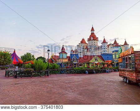 Sochi, Russia Summer 2020. Sochi Park Hotel Bogatyr. Sunset. Evening Lighting. Quarantine Coronaviru