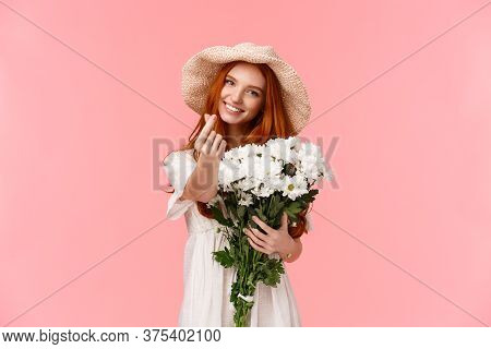 Love, Relationship And Celebration Concept. Cute And Silly Charismatic Redhead Girlfriend Express Ca