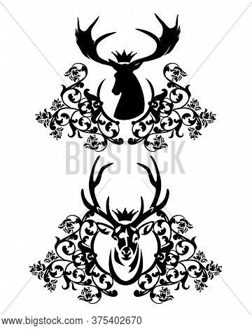 Royal Crowned Deer Stag With Large Antlers Among Heraldic Rose Flowers Decor - Black And White Anima