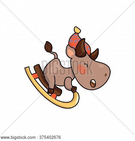 Cute Cow In Hat On Sledge. 2021 Year Lunar Zodiac Animal. Chinese New Year Of Ox. Cow Vector Illustr
