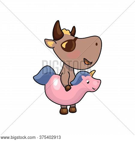 Cute Ox In Unicorn Floating Ring. 2021 Year Lunar Zodiac Animal. Chinese New Year Of Ox. Cow Vector