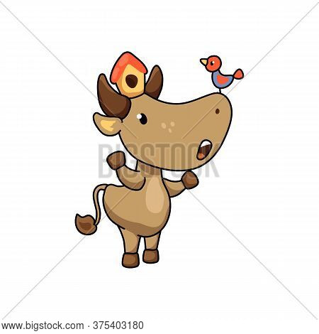 Cute Ox Character With Birdhouse And Bird. 2021 Year Lunar Zodiac Animal. Chinese New Year Of Ox. Fu