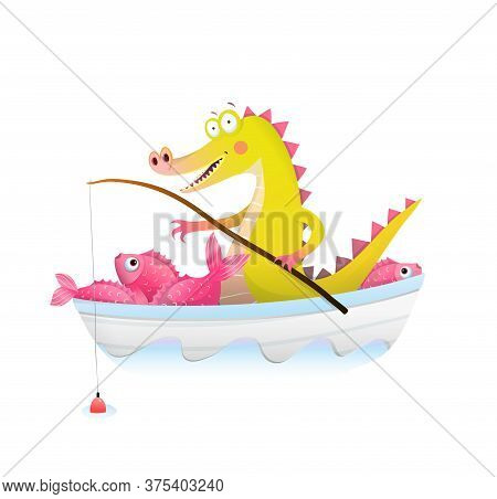 Baby Crocodile Or Alligator In Boat Fishing With Fishing Rod. Fisherman Dragon Happily Smiling With