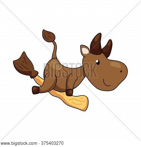 Cute Ox Character Flying On Broom. 2021 Year Lunar Zodiac Animal. Chinese New Year Of Ox. Cow Vector